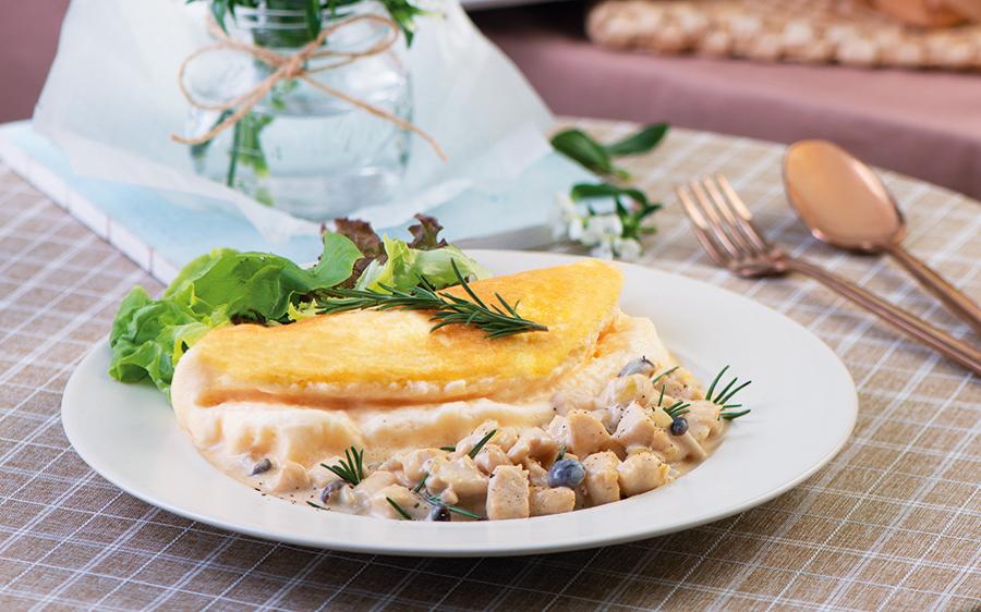 Creamy Chicken Soufflé Omelet